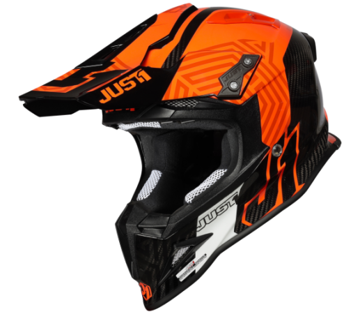 JUST1 J12 Syncro Helm orange Carbon Gloss