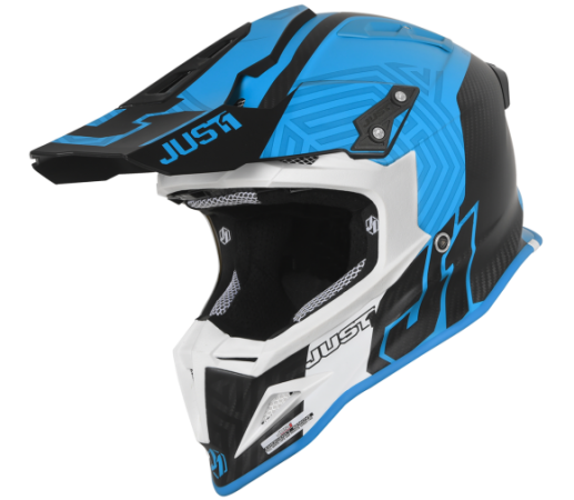 JUST1 J12 Syncro Helm blau Carbon matt